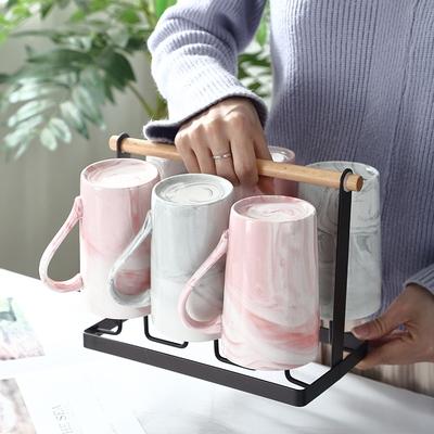 创意陶瓷杯子家用客厅牛奶早餐咖啡杯北欧简约马克杯茶杯6个套装