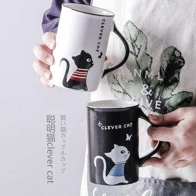 可爱猫咪陶瓷杯子卡通马克杯带盖勺男女情侣喝水杯早餐咖啡杯茶杯