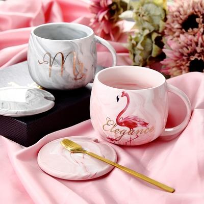 杯子创意个性潮流马克杯带盖勺少女心陶瓷水杯家用情侣早餐咖啡杯